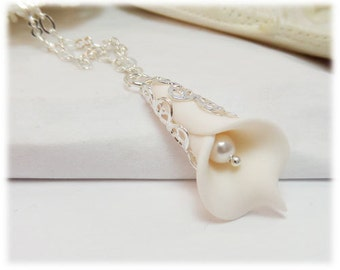 Small White Calla Lily Necklace - Calla Lily Jewelry Collection