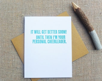 Letterpress Greeting Card - Friendship and Encouragement Card - Thinking Out Loud - Personal Cheerleader - TOL-066