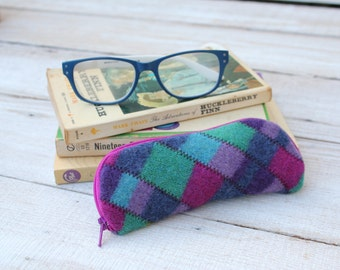 Felted Wool Glasses Case Colorful Patchwork Glasses Case in Blues Turquoise and Hot Pink
