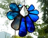Paris - Lovely Stained Glass Crystal Suncatcher in Blue and Turquoise