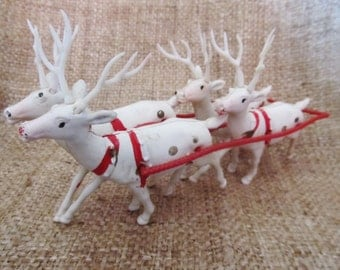 Vintage Set Of 4 Reindeer, Ships Worldwide