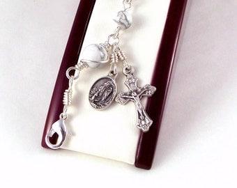 Virgin of Lourdes Rosary Bracelet In White Magnesite by Unbreakable Rosaries