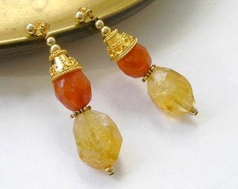 Carnelian Citrine Wealth Earrings Gold Healing Stones Drop Earrings