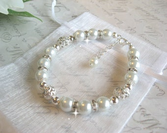Pearl and Rhinestone Wedding Bracelet/Bride or Bridesmaid Bracelet/Wedding Jewelry/Bridesmaid Jewelry/Pearl Bridal Bracelet
