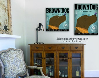 Brown Dog Labrador Wine Company graphic art on gallery wrapped canvas by stephen fowler