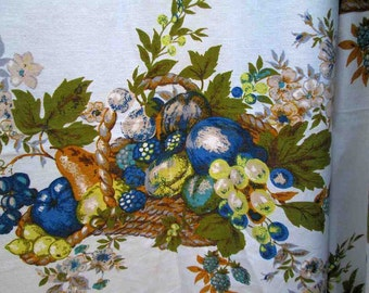 "Grapes and berries Vintage Fabric 60s Harvest Basket Fabric Curtains Gabrielle Cie blue floral print Cotton material 3 yds 48"" wide"