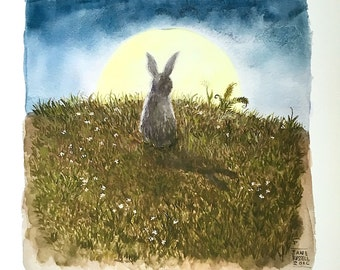 Rabbit Moon Print of an original watercolor painting