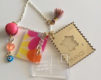 SALE!! FRANCE Postcrossing, stamps, postcard laser cut necklace