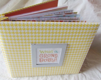 8x8 premade Scrapbook Album -- WHAT A GRAND BABY -- new GranDMa'S BrAG BooK - grandma gift, new baby boy or girl