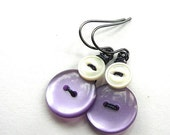Christmas in July Sale Purple and White Vintage Button Earrings