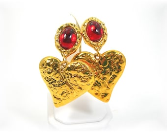 Avon Clipon Earrings, NOS Vintage 1993 Large Dangling Golden Heart, Red Glass Cabochon, 2-3/4 Inches Long, Lightweight, Christmas Valentines