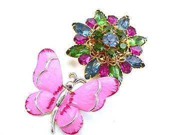 Spring Brooches, Gerry's Pink Butterfly & Colorful Rhinestone Flower, Lot of 2, Vintage Brooch Pink Blue Green, c1960s Costume Jewelry