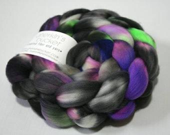 Hand Dyed Artisan Fiber, Spinning Weaving Fiber, SW Merino/Nylon fiber - Dark Nebula colorway (dyelot 92216)