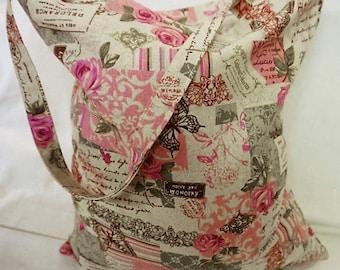 Tote Bag -  Grocery Bag - Shopping Bag-  Calico Cotton - Linen Retro Buterflys & Roses  - Handmade