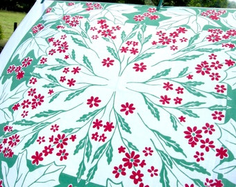 "Vintage Christmas Tablecloth - 44 x 50"" - 1970s"