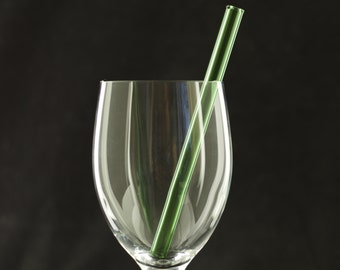 Short Glass Straw in Emerald Green, Ready to Ship #243