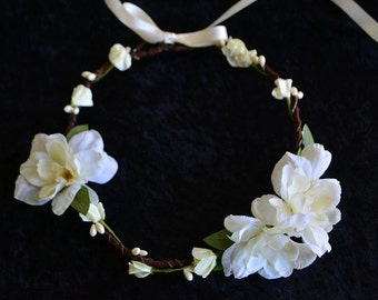 Ivory Flower Crown, Flower Girl Crown, Boho Flower Crown, Flower Girl Headband, Flower Hair Wreath, Photo Prop, Fairy Crown, Rustic Crown
