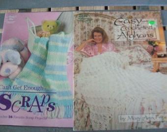 Set of 2,Crochet,Patterns,Booklets,Supplies,Crafts,Annie's Attic,American School,Needlework,Afghans,Scraps