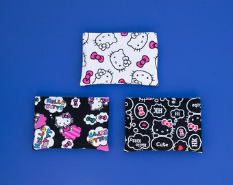 Set of 3 Eco Friendly Reusable Snack Bags - Handcrafted from Hello Kitty Faces (Ready To Ship)
