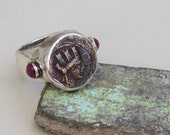 Ancient Coin Ring, Greek Coin Ring, Ancient Coin Jewelry, Authentic Coin Ring, Statement Coin Ring, Nike Ring, Chunky Ring, Silver Ruby