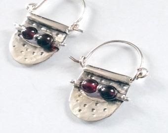 Garnet Earrings, Small Hoop Earrings, Silver Stone Hoops, Garnet Hoops, Red Stone Earrings, Garnet Earring Hoops, Wine Red Earrings,