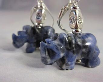 Sodalite rhinoceros earrings - rhino jewelry - sterling sliver ear wires - blue stone - stone for honesty