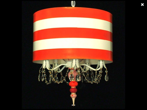 Drum Pendant Chandelier - Orange and White Stripe