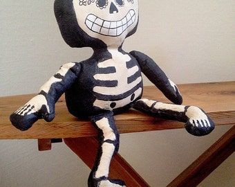 Handmade Canvas Day of the Dead Shelf Sitter Skeleton Doll