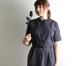 ON SALE 1950s Dress - Vintage Plaid Shirtdress in Navy Blue and Dark Maroon - Large