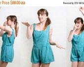 ON SALE 1950s Bathing Suit - Vintage Aquamarine Bombshell Maillot - XL
