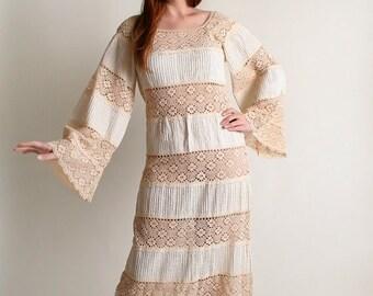 ON SALE Vintage Mexican Hippie Maxi Dress - Ivory White Bohemian Wedding Lace Floor Length Dress - Medium Large
