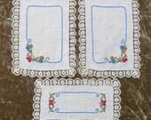 Vintage Embroidered Linen Three Piece Dresser Scarf Set, Lace Edge Trim...3 Scarves, Sewing Supplies... Flowers, Floral, Blue,Orange,Green