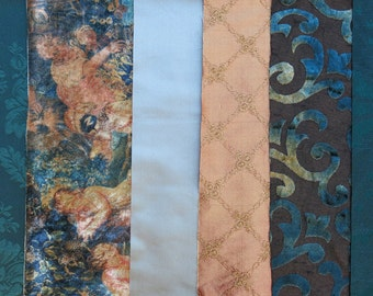 Teal, Terra Cotta Fabric Pack, Collection...CLOSEOUT SALE, Clearance Destash...6 home design samplers, remnants,scraps, texture - F1621
