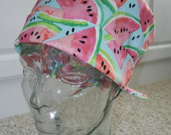 Tie Back Surgical Scrub Hat with Watermelon Slices