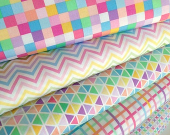 Easter Fabric, Plaid fabric, Cotton Fabric by the Yard, Rainbow Remix fabric, Ann Kelle for Kaufman- Fabric Bundle of 5, Choose the cut