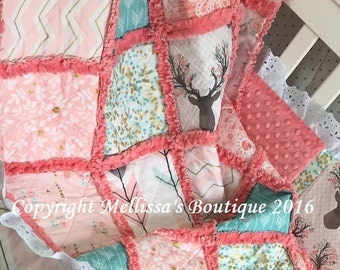 Designer Coral Blush Mint/Turquoise & Gold Metallic Deer Boutique Rustic Shabby Chic Baby Toddler Rag Quilt Crib Bedding MADE TO ORDER