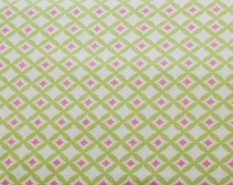 Leanika by Dena Designs for Free Spirit Fabrics Gemstone Green & Pink Fabric FQ OOP RARE Destash