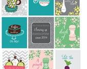 Kitchen Wall Art - Set of 9 - Art Prints - Mixer, Monogram, Salt and Pepper, Utensils - Funny Kitchen Quote