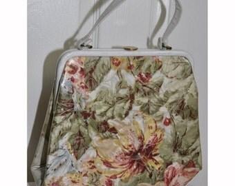 1960's Vintage Clear Vinyl Oversized Floral Handbag
