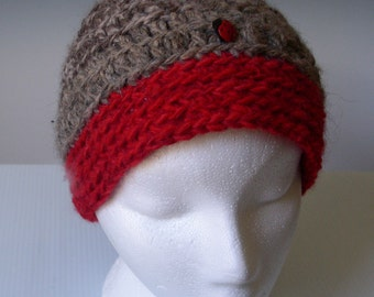 SKI WINTER - Women Men Girl Boy  Unisex - Warm Hat Beanie Cap- 100%  ALPACA - Brown Tan Red Ladybug Button -  handspun, hand crocheted.