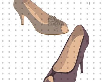 Tan & Purple Peep Toe Heels Royalty Free Clipart Set