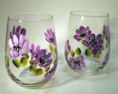 Hand Painted With Purple Flowers Stemless Wine Glasses
