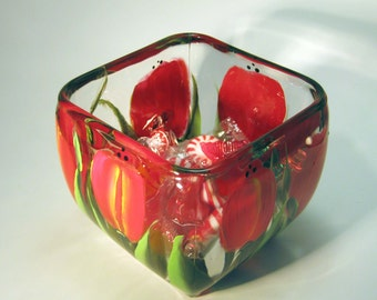 Hand Painted Red Tulip Candy Dish