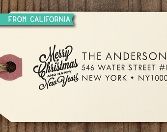 CUSTOM ADDRESS STAMP, Merry Christmas, Self Inking Stamp, Custom Rubber Stamp, Gift Tag, Christmas Card, Address Stamp, Christmas Gift 19