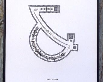 Dard Hunter letterpress ampersand print