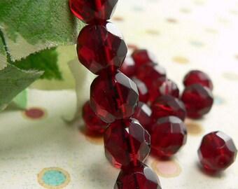 Garnet Czech Glass Round Beads Ruby Red 8mm Firepolished (50)