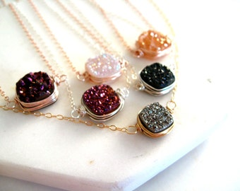 Druzy Necklace Gold druzy choker multiple colors colorful jewelry layering VitrineDesigns