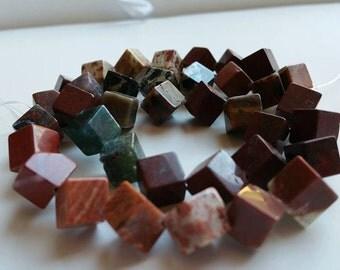 10mm Brecciated Jasper Gemstone Beads, Cube, Diagonally - FULL STRAND