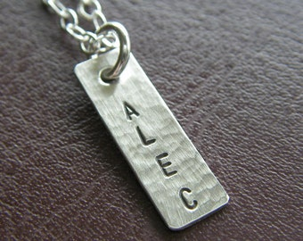 "Custom Silver Bar Necklace - Hand Stamped Sterling Silver - Personalized Jewelry - 3/4"" Textured Name Necklace, Optional Birthstone or Pearl"