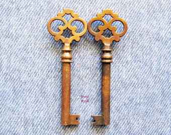 Brass Skeleton Key Lot Victrola Phonograph Cabinet Lock Antique Victorian Vintage Hardware